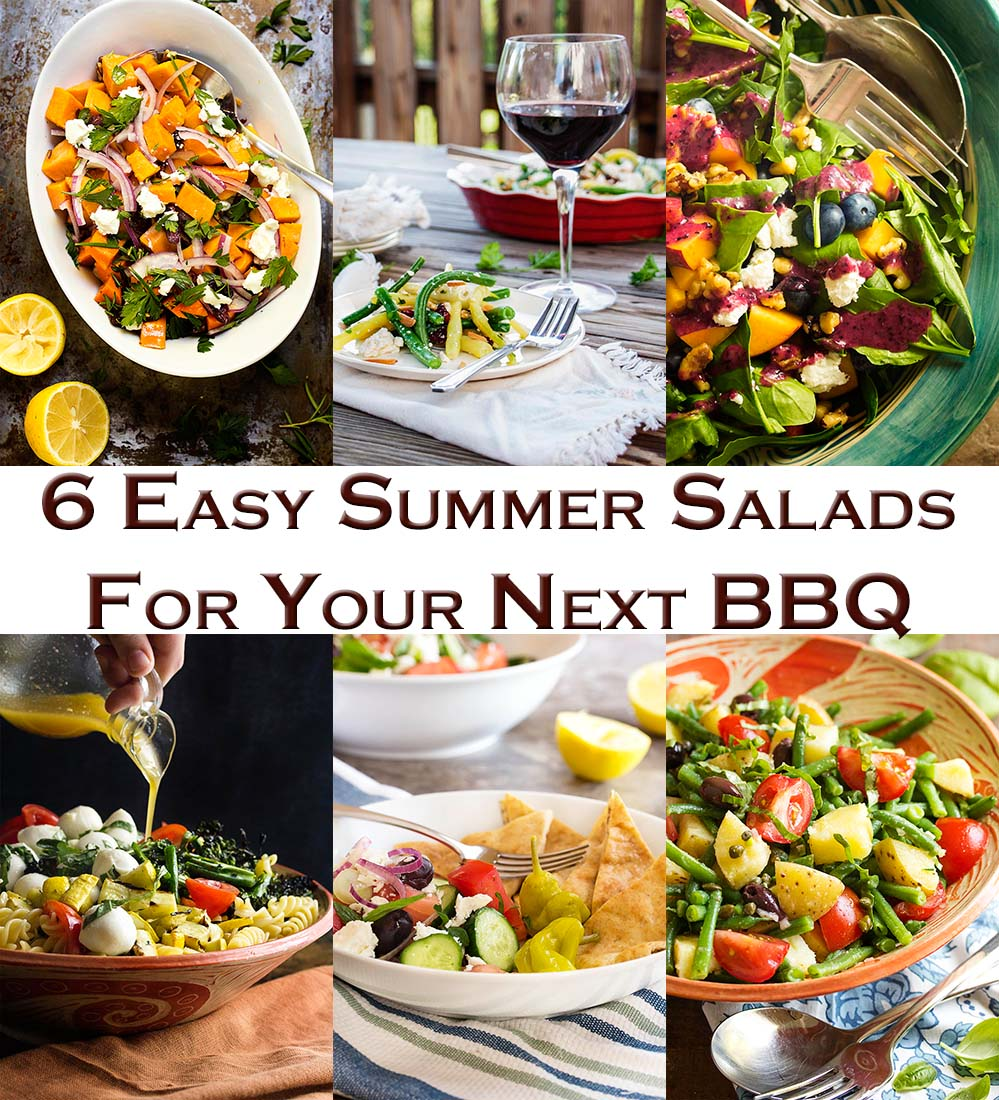 Looking for some easy summer salads which go beyond the basics? Check out this roundup of six great salads for BBQs and cookouts! Grilled pasta salad, French potato salad, blueberry spinach salad, and more. | justalittlebitofbacon.com