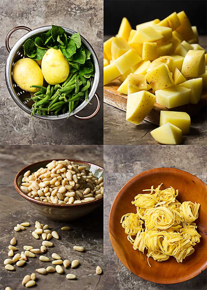 This vegetarian main course is based on a classic dish from Liguria where pesto sauce is paired with pasta, potatoes, and green beans. Easy, one pot meal! | justalittlebitofbacon.com