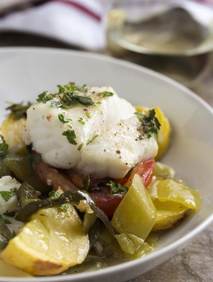 Mediterranean Cod with Mixed Vegetables