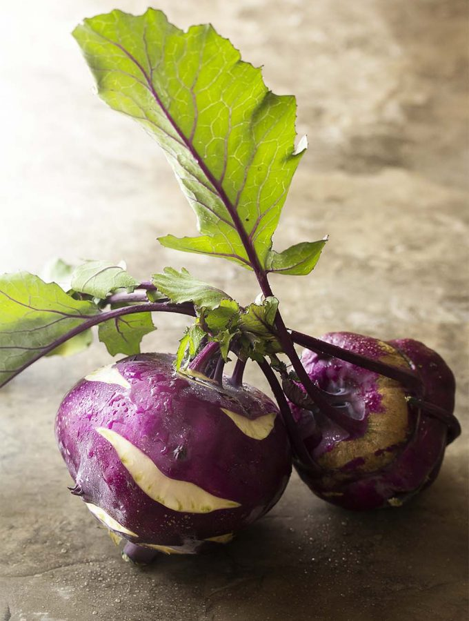 What is kohlrabi? What does it taste like? How do you cook with kohlrabi? These questions and more answered in this ingredient spotlight! | justalittlebitofbacon.com