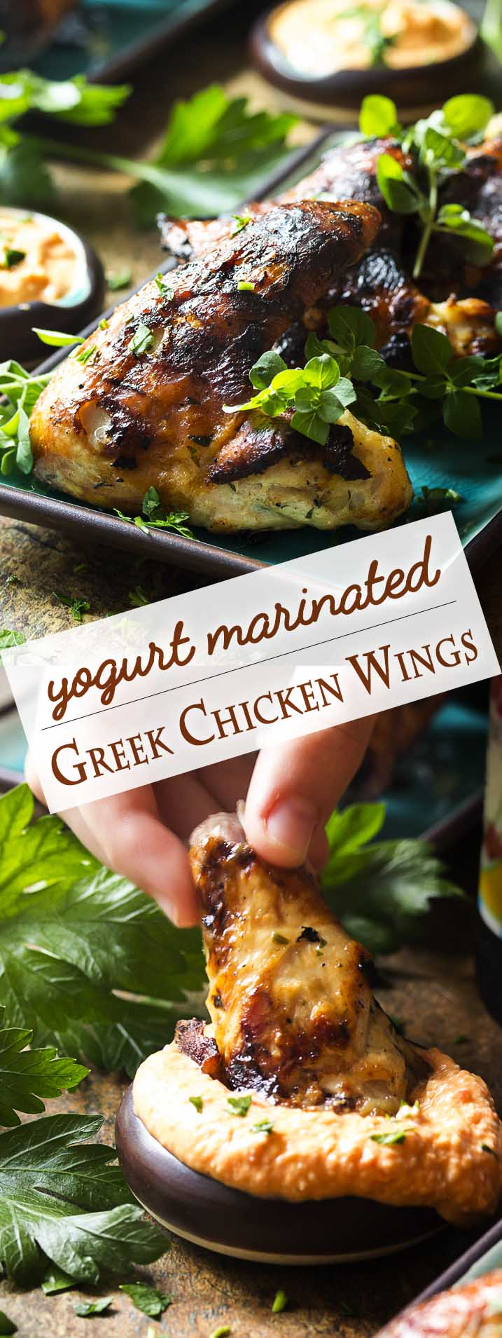 Yogurt marinated chicken wings are so flavorful, tender and juicy which makes these grilled Greek wings a fun and easy party food! Great by themselves or with a dipping sauce, like roasted pepper feta dip or tzatziki sauce. | justalittlebitofbacon.com