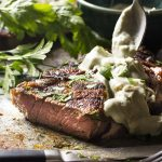 Paprika Rubbed Steak with Brandy Blue Cheese Sauce