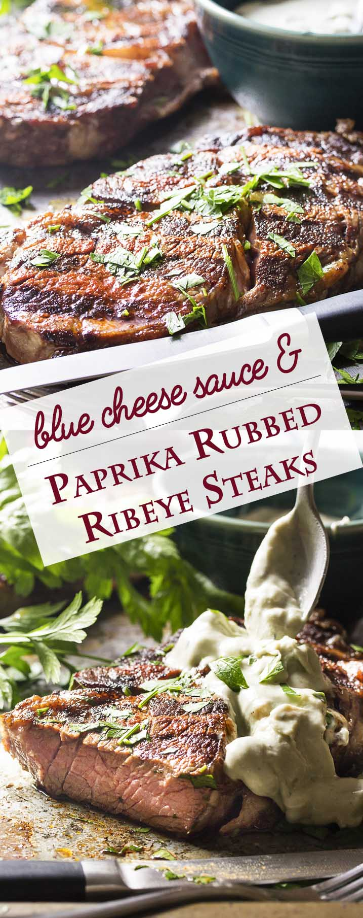 This Spanish inspired grilled ribeye steak is rubbed with paprika and smoked paprika and then topped with a blue cheese brandy sauce for an easy and flavorful main course. | justalittlebitofbacon.com
