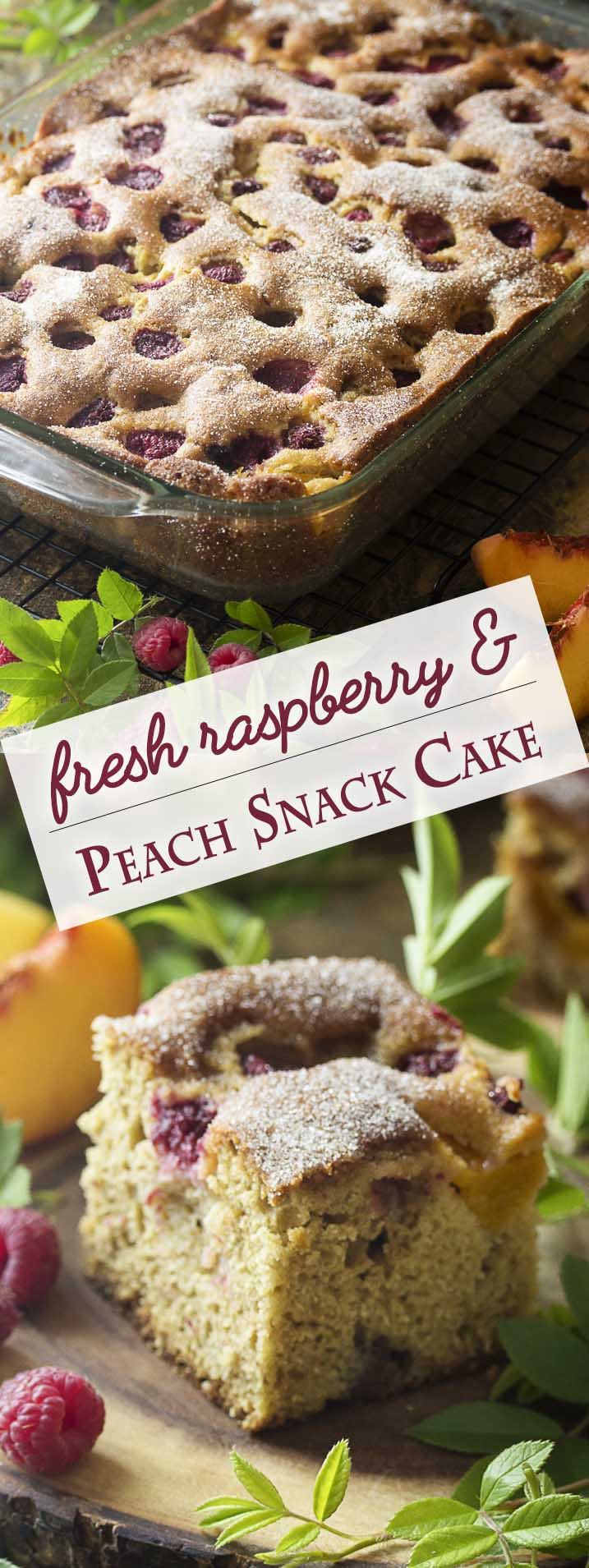 This easy fresh peach cake studded with raspberries is full of fruit flavor, needs no mixer, and freezes beautifully! A simple cinnamon sugar topping finishes it off. Great for breakfast or for dessert. | justalittlebitofbacon.com