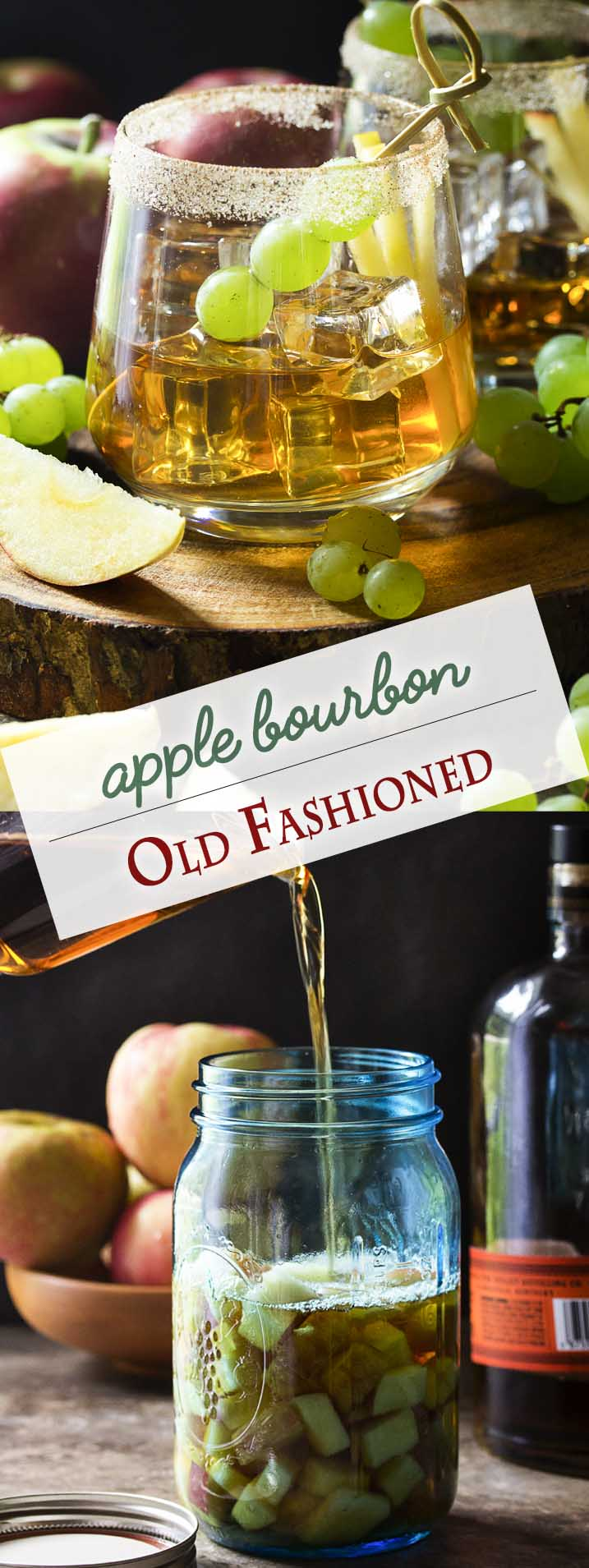 Welcome fall with this maple old fashioned which features maple syrup and apple infused bourbon for a very New England take on the classic cocktail. | justalittlebitofbacon.com