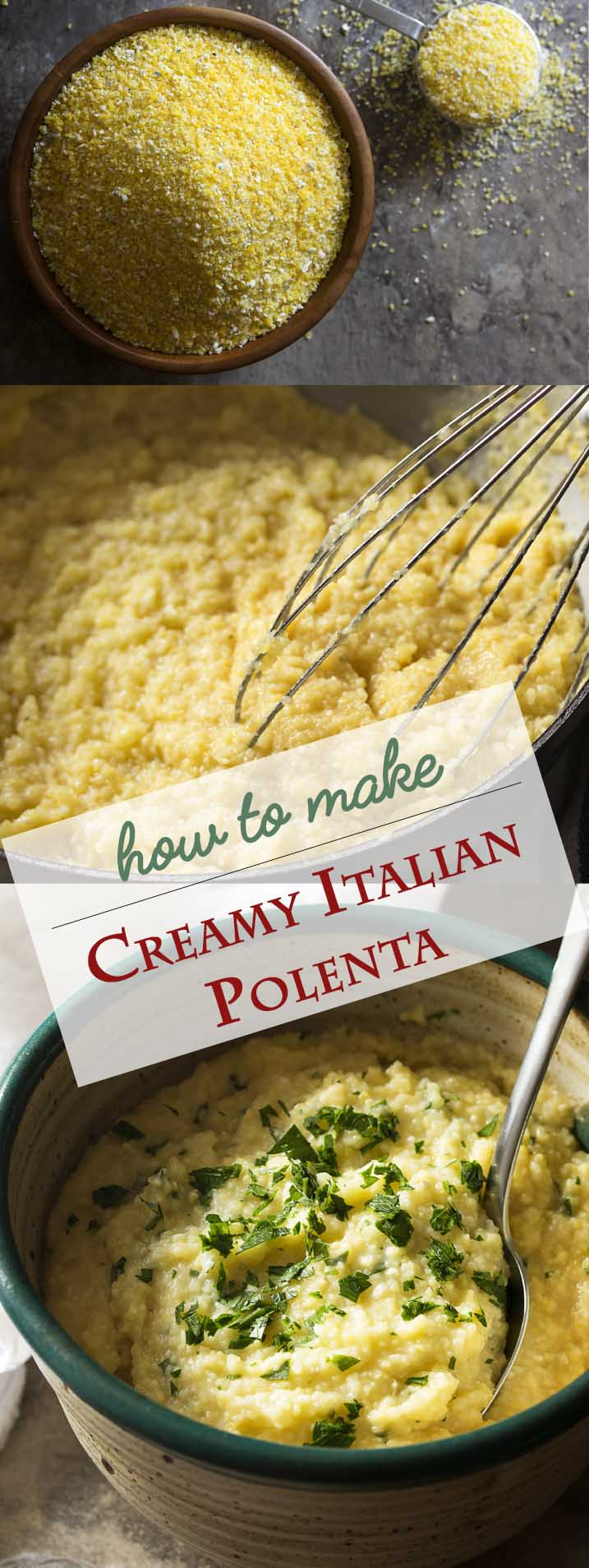 It's easy to make creamy and lump free Italian polenta so long as you follow a few simple rules and step away from that boiling water. Eat it hot and soft right from the pot or chill it and give a fry. Either way it's great comfort food! | justalittlebitofbacon.com #polenta #sidedish #glutenfree #italianrecipes
