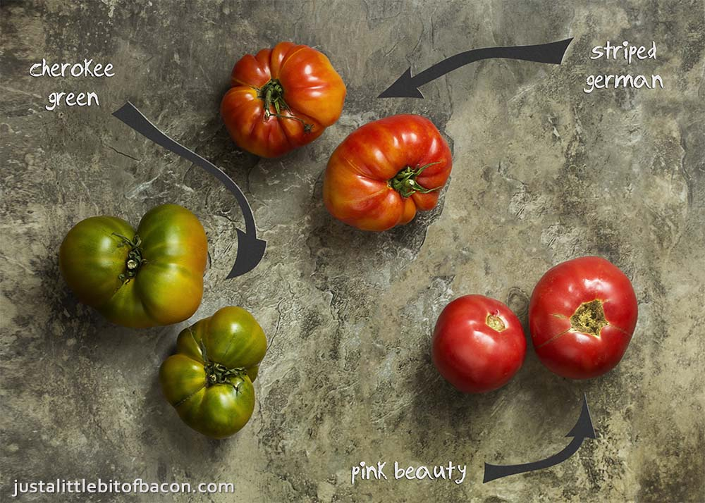 What are heirloom tomatoes? What are great recipes for heirloom tomatoes? Learn about their history, varieties, and more in this ingredient spotlight!   justalittlebitofbacon.com