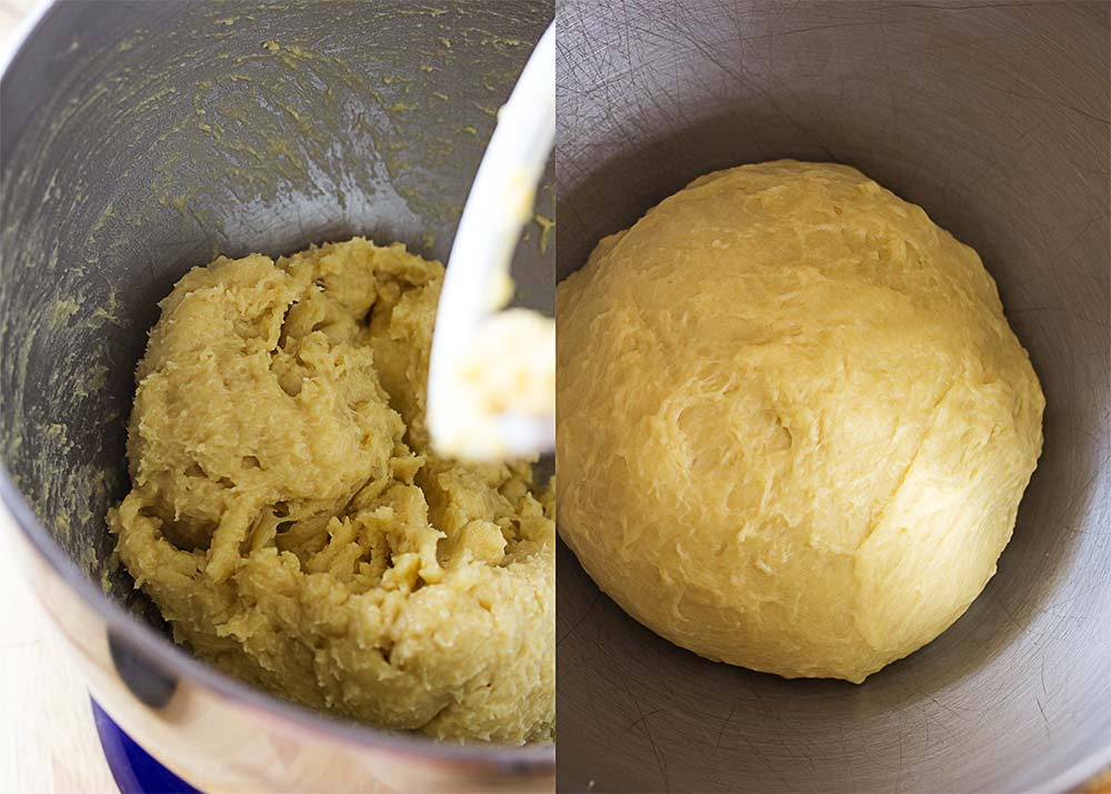 Two views of the dough for the bread. One showing it all sticky and messy and the other showing it smooth.