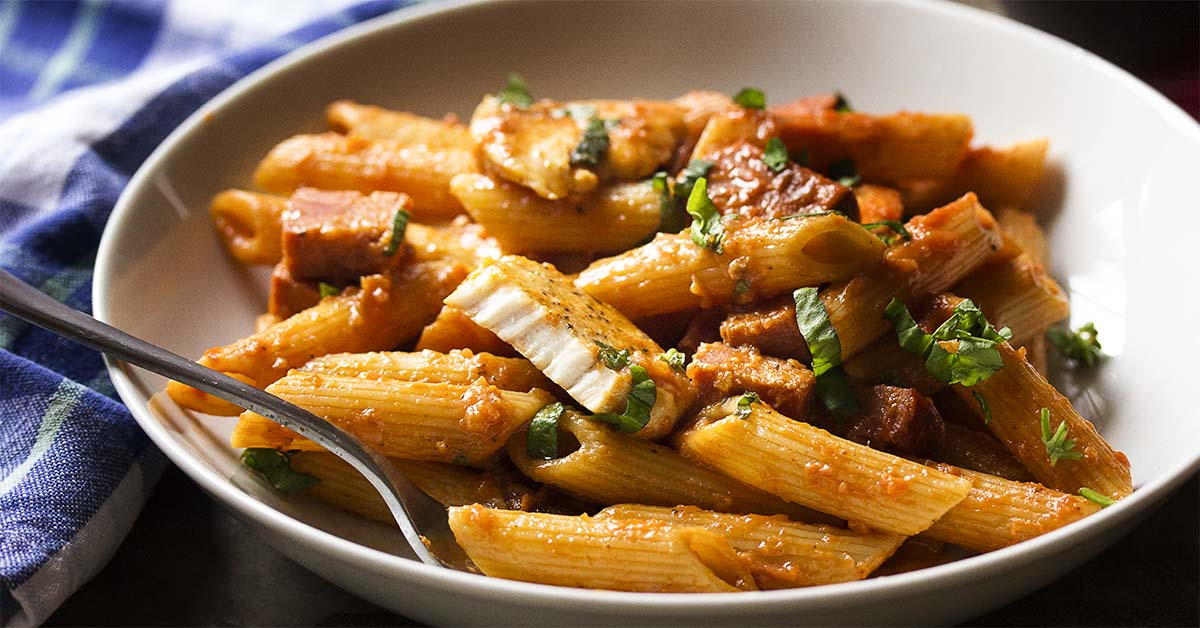 Penne Alla Vodka With Chicken And Chorizo Just A Little Bit Of Bacon