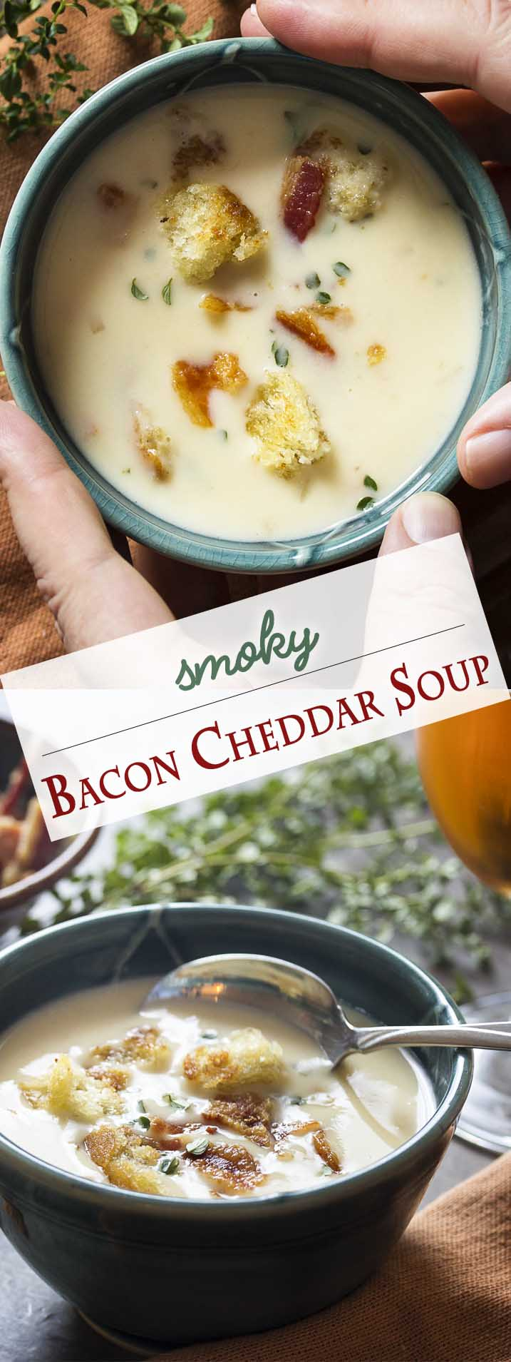 My bacon cheddar soup is a simple recipe which makes rich, creamy comfort food full of smoky flavor from the bacon and the smoked cheddar. | justalittlebitofbacon.com