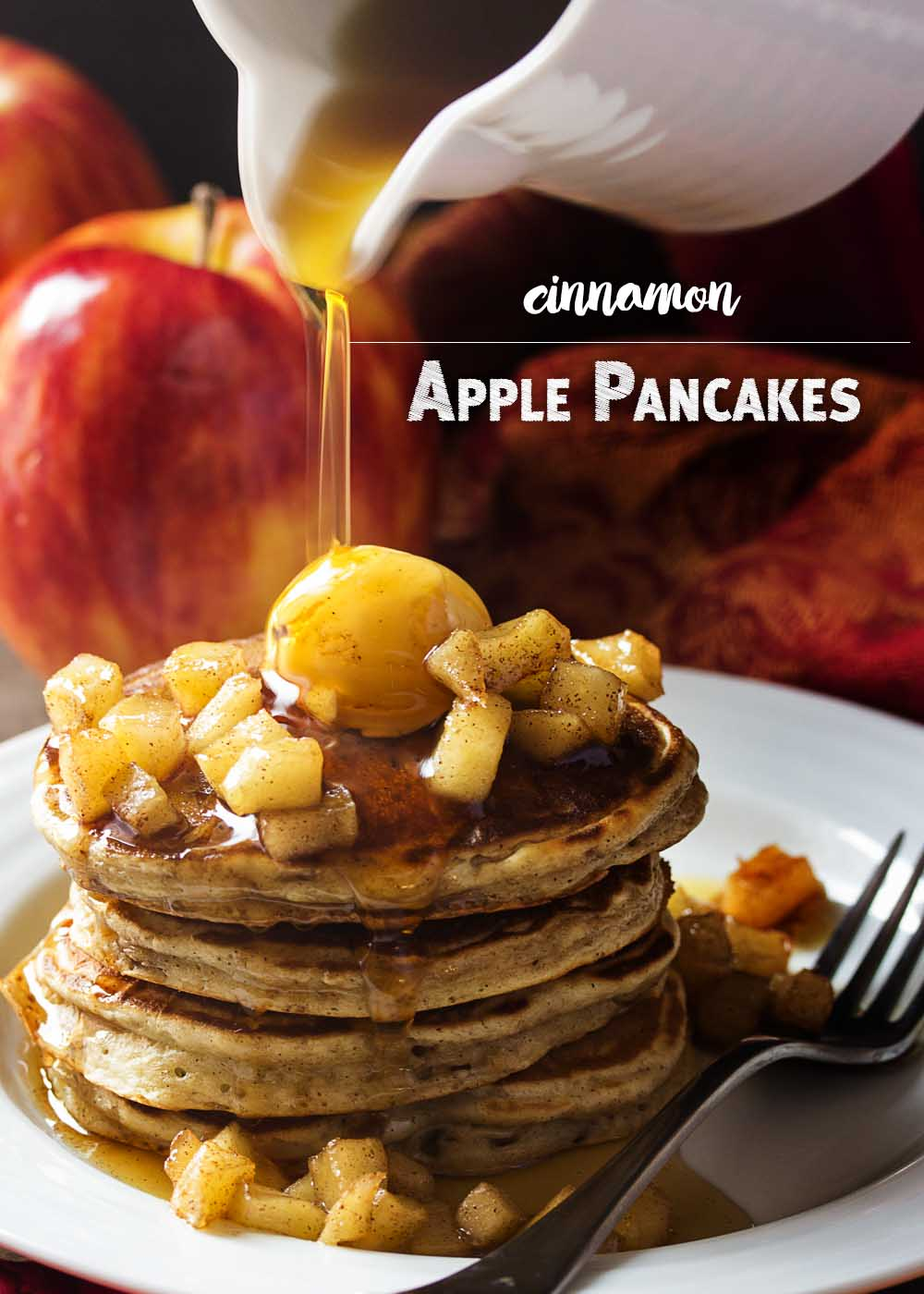 My favorite sour cream pancake batter is mixed with sauteed spiced apples in these apple cinnamon pancakes for the perfect fall and winter breakfast.   justalittlebitofbacon.com
