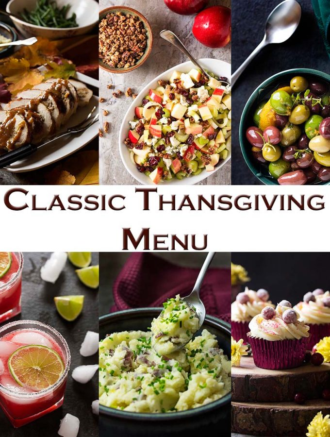 I have a great Thanksgiving menu full of all the classic favorites - turkey, stuffing, cranberry sauce, pie, and more; all updated and fresh. | justalittlebitofbacon.com