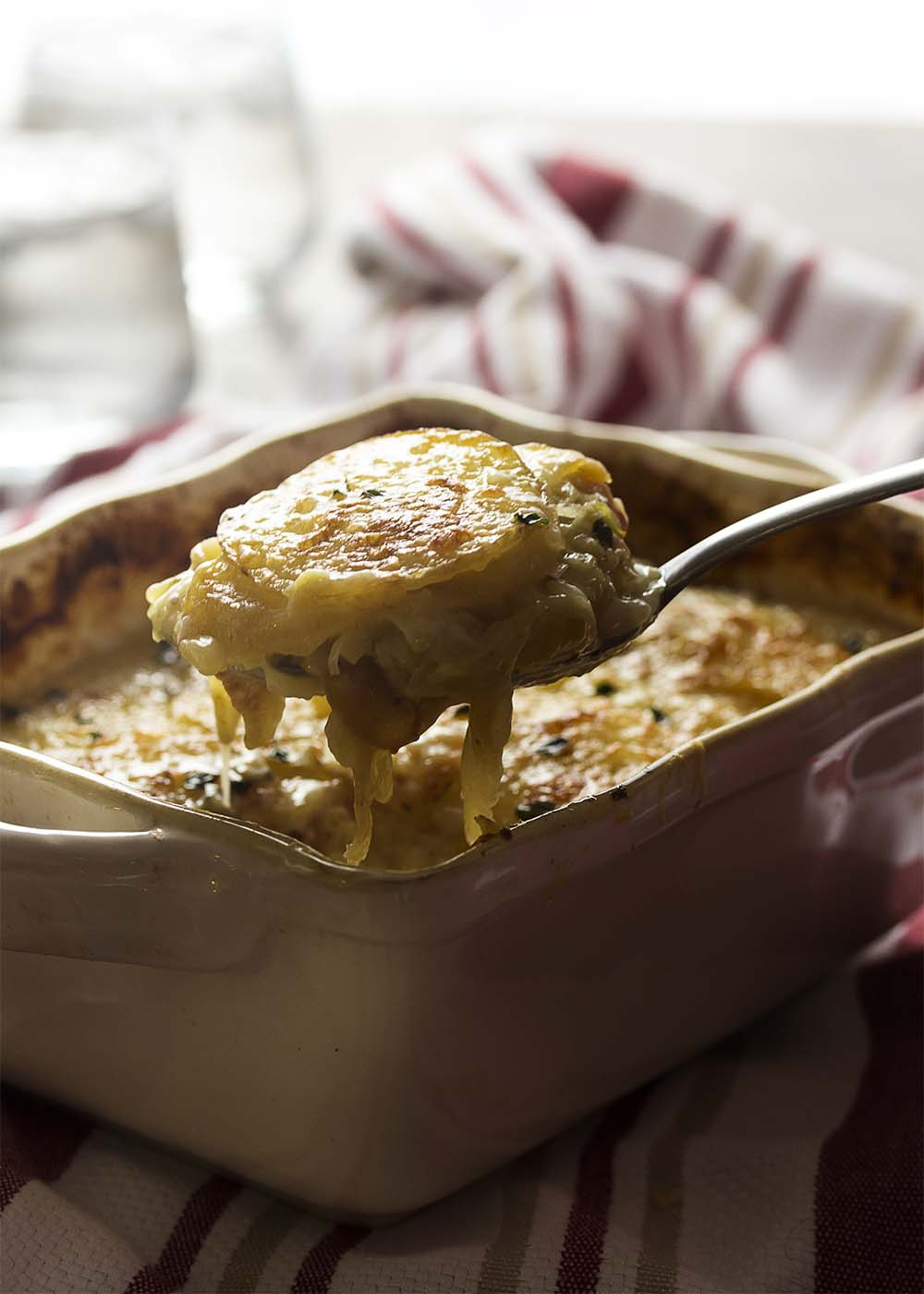 Creamy, buttery yellow potatoes and mild leeks combine with sharp cheddar and pancetta in this rich and cheesy potato leek gratin. | justalittlebitofbacon.com