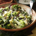 Creamy Broccoli Apple Salad with Pistachios, Cranberries, and Red Onion