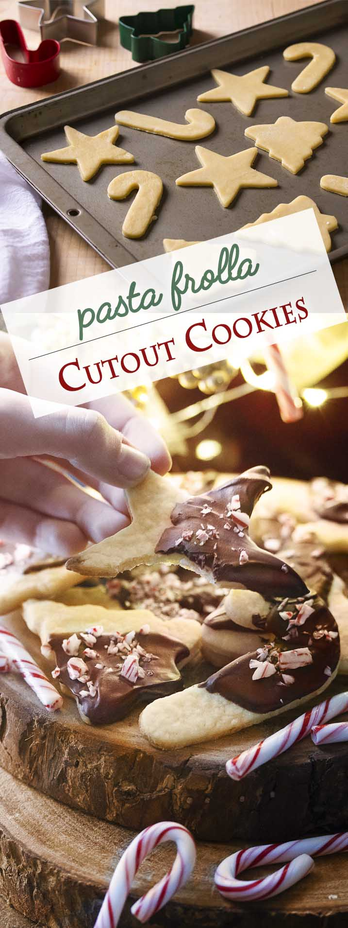 The Italian pastry dough, pasta frolla, is great for pies and tarts, but it is also great for Christmas cutout cookies! We like ours decorated with chocolate and mint. So easy! | justalittlebitofbacon.com