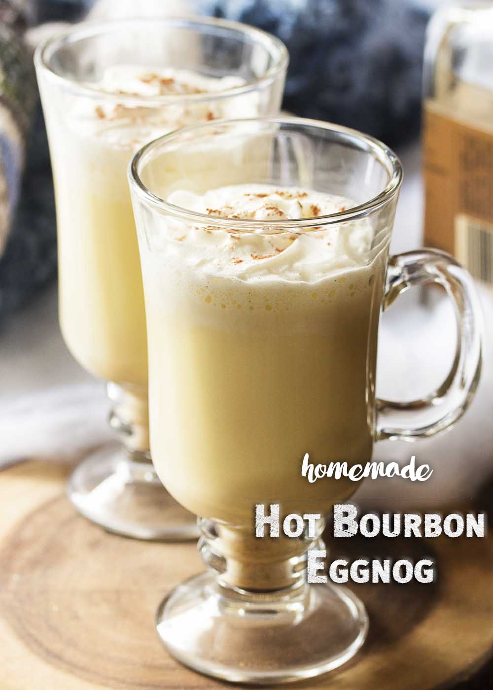 Homemade hot bourbon eggnog is easy to make and will warm you right through. I think it's the perfect drink for cold and snowy days by the fire!   justalittlebitofbacon.com