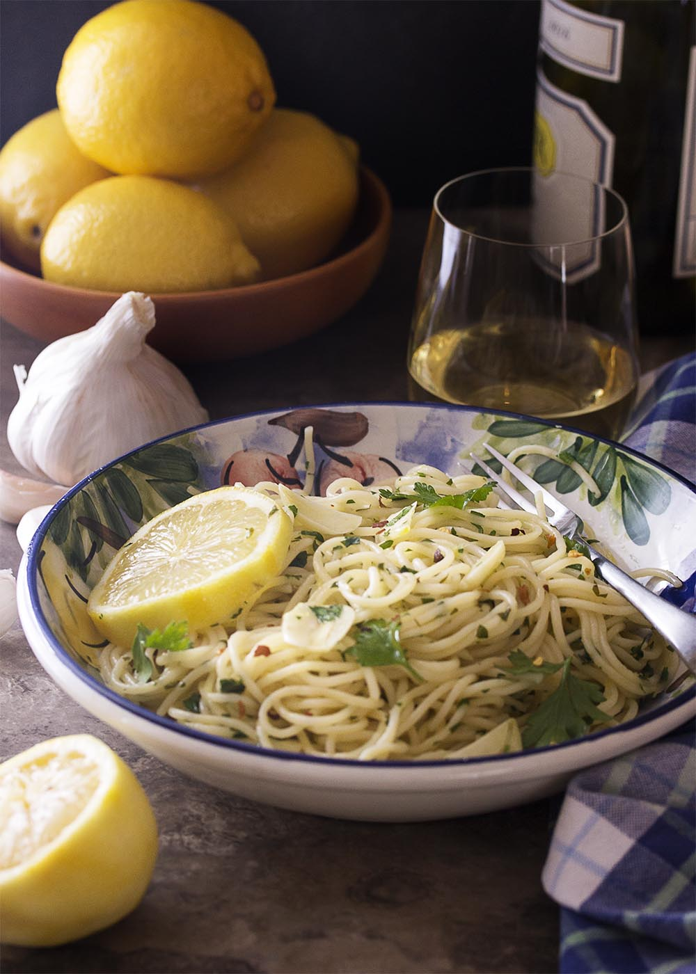 Anchovy Garlic Lemon Pasta in a Bowl