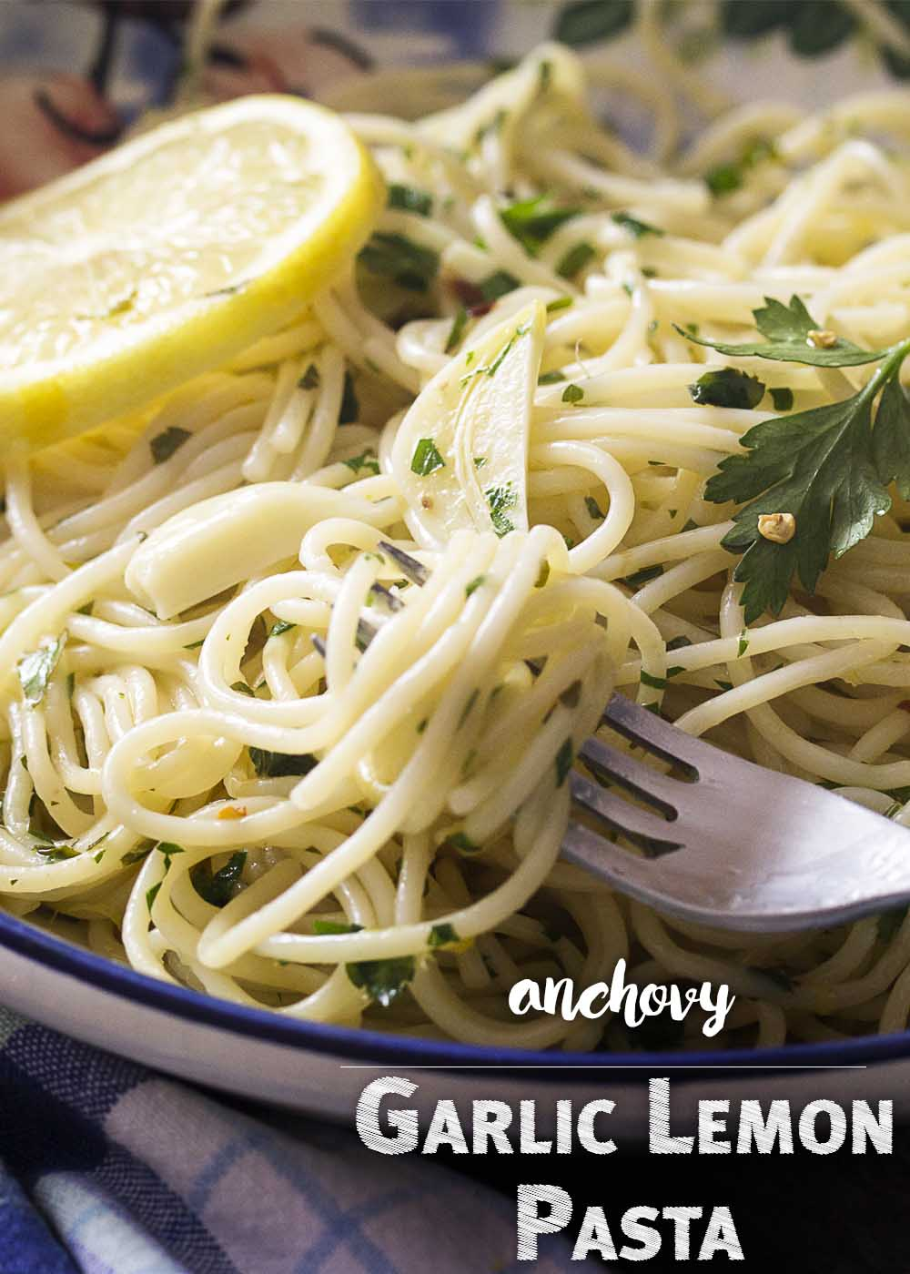 Garlic Lemon Pasta - Pasta with garlic and olive oil is simple and classic recipe which comes together quickly for a great weeknight meal. Add in some lemon juice and zest to give it brightness and anchovies to provide umami, and you'll have a pasta dish you'll want to make again and again.   justalittlebitofbacon.com #italianrecipes #pasta #pastarecipes #quickandeasy
