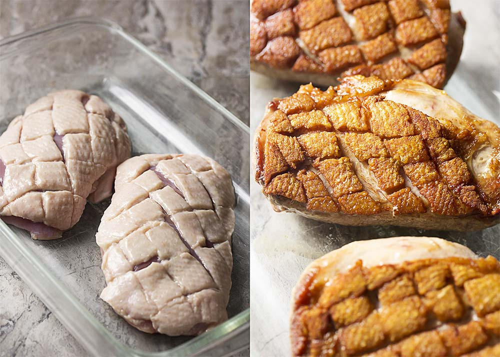 Duck breast with skin scored with a crisscross pattern - before and after cooking