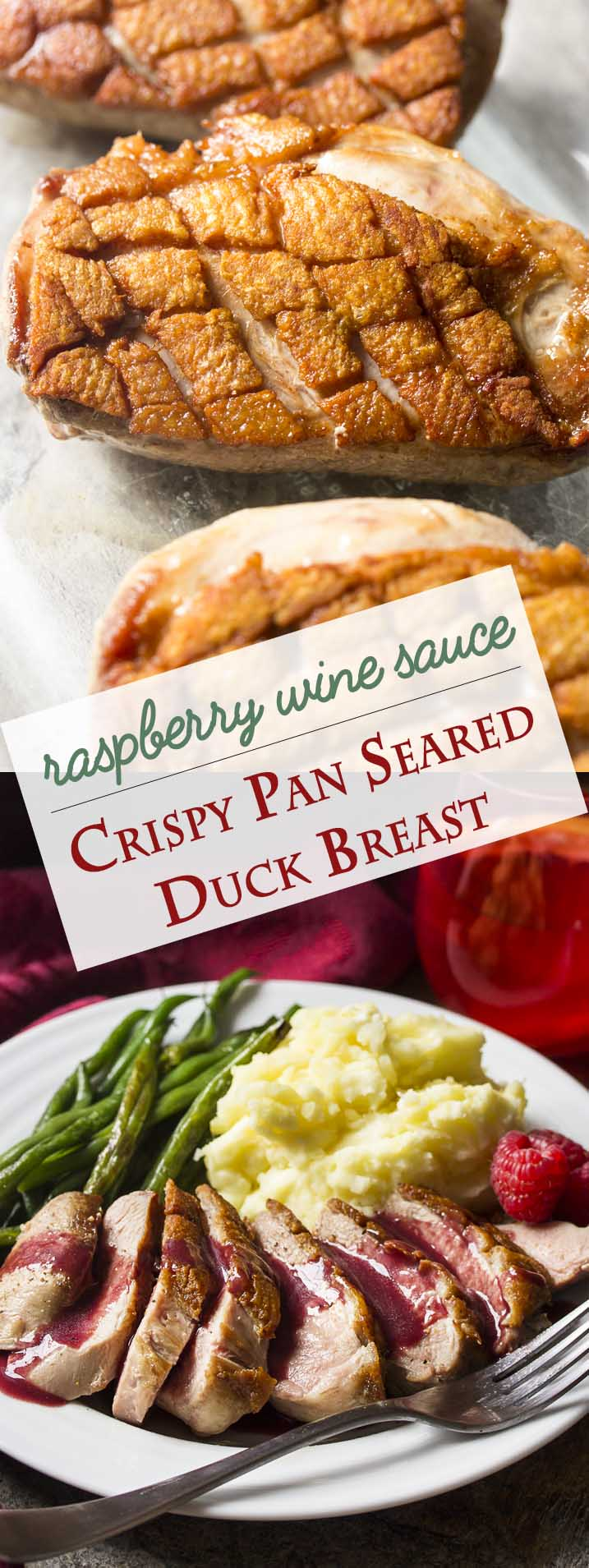 Pan seared duck breast cooked until the skin is golden brown and crispy and then topped with a sweet and spicy make ahead sauce of red wine, port, raspberries, and a little bit of honey. Great for date night, dinner parties, or a romantic Valentine's day meal. | justalittlebitofbacon.com #duck #datenight #datenightideas #valentinesday #raspberry #dinnerrecipes