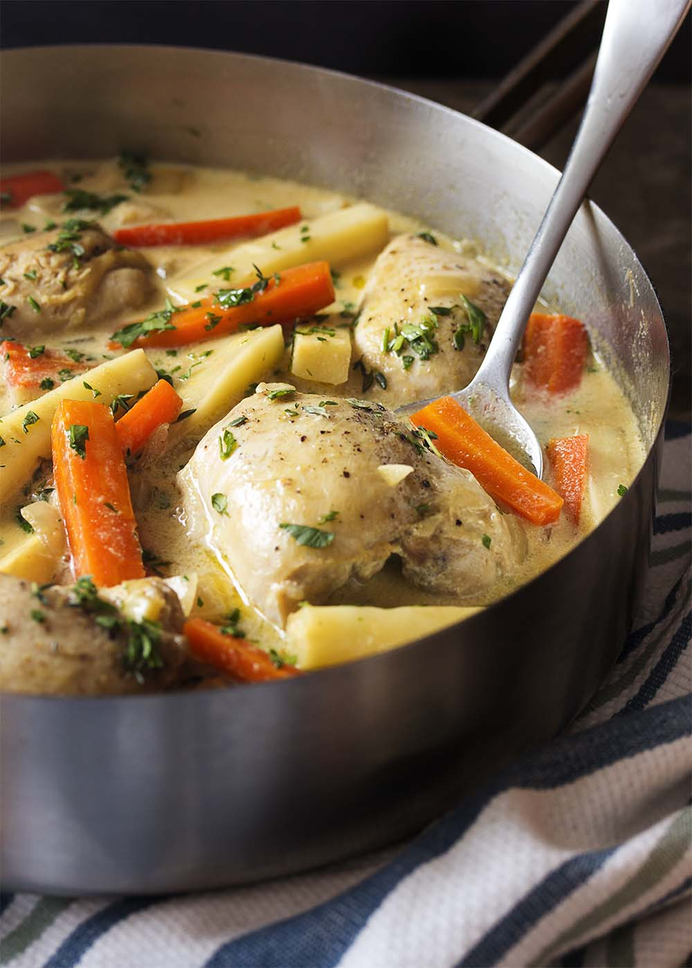 French chicken fricassee in a pot with a spoon.