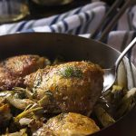 Mediterranean Pan Roasted Chicken Thighs and Artichokes