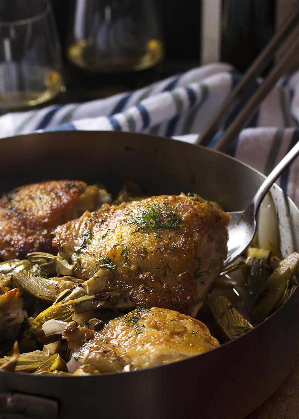 Chicken Thighs and Artichokes in the saute pan