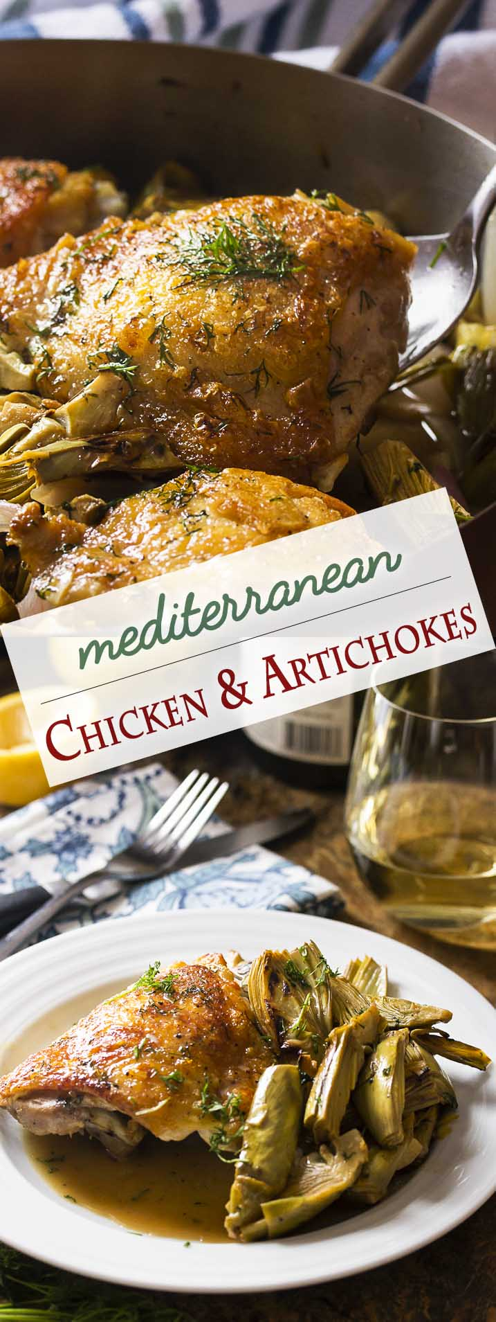 Looking for a new chicken recipe? Love artichokes? My pan roasted chicken and artichokes with a white wine lemon pan sauce is a great skillet dinner full of Mediterranean flavors and a great way to use fresh, baby artichokes. | justalittlebitofbacon.com #chicken #artichokes #skilletchicken #mediterranean