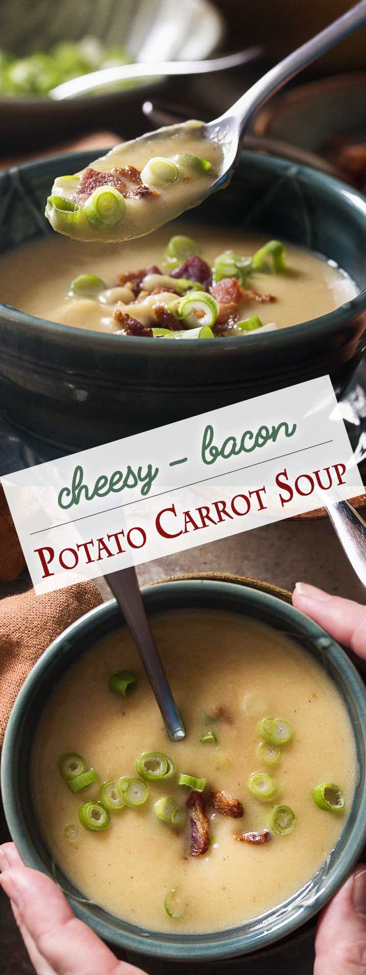 My creamless creamy potato carrot soup is full of flavor from buttery yellow potatoes, sweet carrots, bacon fat, and sharp cheddar cheese. Pureed until smooth and topped with crispy bacon and scallions, this soup is great comfort food for dinner on chilly nights.   justalittlebitofbacon.com #glutenfree #souprecipes #potatoes #comfortfood #bacon
