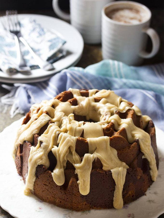 In this churro inspired dessert, sour cream cinnamon bundt cake is swirled with chocolate for a moist and tender marble cake. Wonderful as is, but even better when topped with a brown butter cinnamon icing!