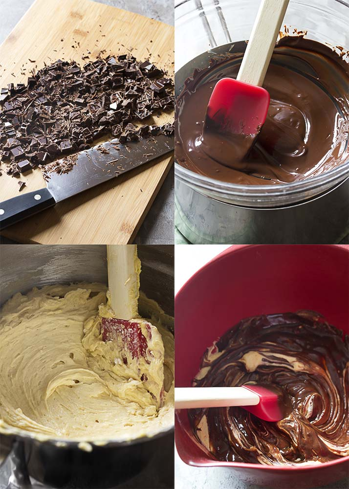 Four picture collage. Top left is finely chopped chocolate on a cutting board. Top right is melted chocolate in a glass bowl. Bottom left is yellow cake batter in the mixer. Bottom right is chocolate cake batter.