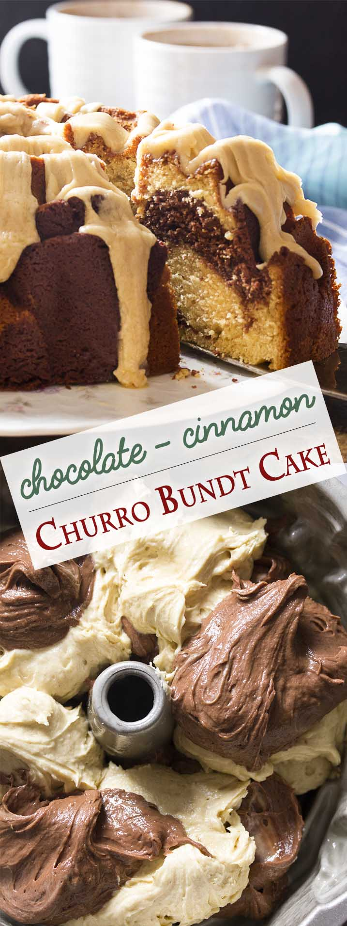 In this churro inspired dessert, sour cream cinnamon bundt cake is swirled with chocolate for a moist and tender marble cake. Wonderful as is, but even better when topped with a brown butter cinnamon icing! | justalittlebitofbacon.com #bundtcake #cinnamoncake #chocolatecake #bundt #churrocake