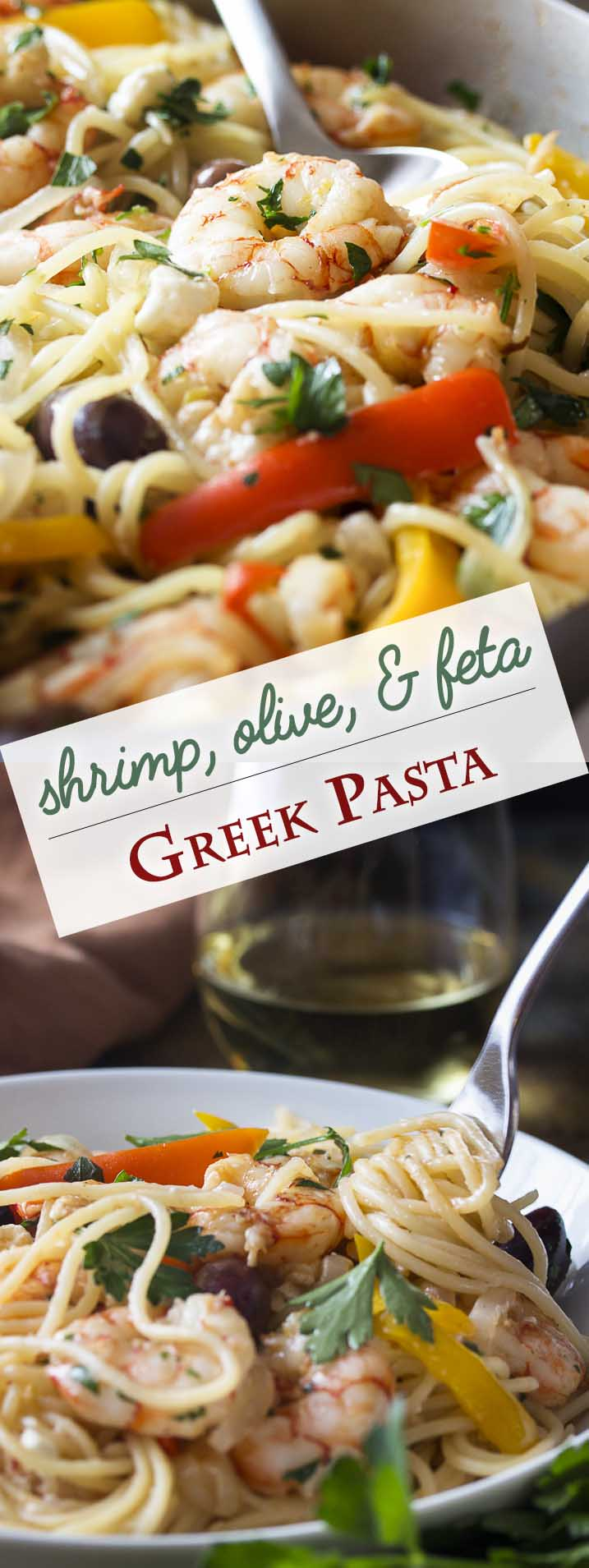 Greek pasta with shrimp, feta, olives is a great and easy skillet dinner full of tender shrimp, salty feta and olives, a good glug of olive oil, and plenty of garlic. And you get to flambe! What could be better? | justalittlebitofbacon.com #greekfood #pasta #pastadinner #shrimp #easydinner