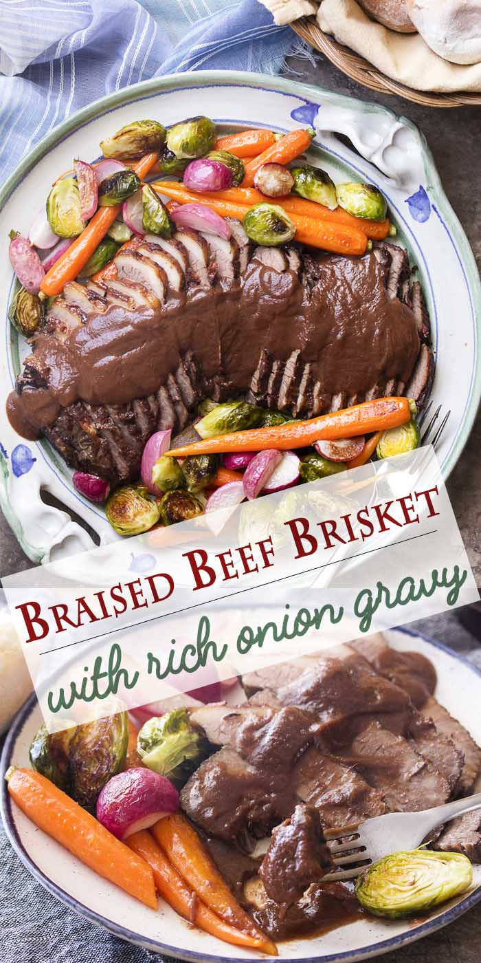 For a delicious and fork-tender oven braised beef brisket, cook it low and slow in red wine and onions. Then let it cool for easy slicing and puree the sauce for a thick and rich onion gravy. Great holiday roast!   justalittlebitofbacon.com #beefbrisket #passover #easter #holidayrecipes #roastbeef