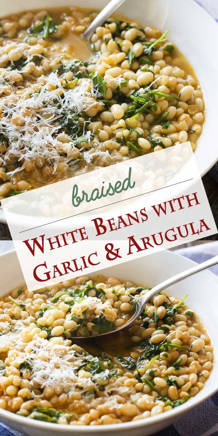 Arugula adds brightness and a peppery flavor to this simple and healthy recipe for Italian braised white beans with garlic and tomatoes. It's a satisfying side dish for all sorts of meals, especially grilled or seared lamb chops or steak. | justalittlebitofbacon.com #italianrecipes #sidedish #mediterraneandiet #beans #italianfood