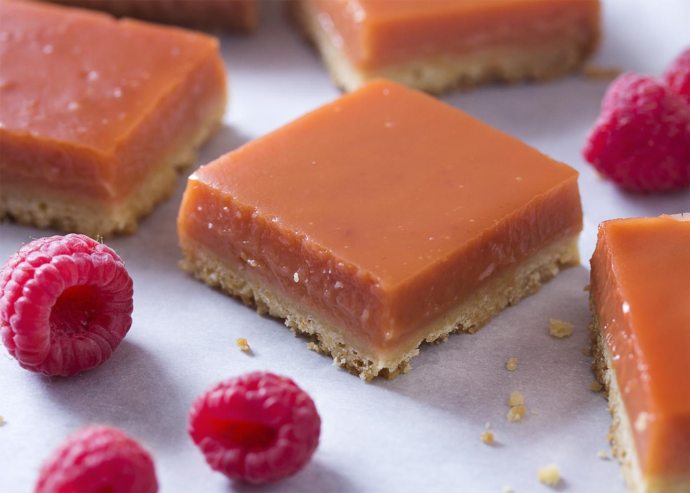 Finished lemon raspberry bars cut into squares showing the orange-red color of the filling.