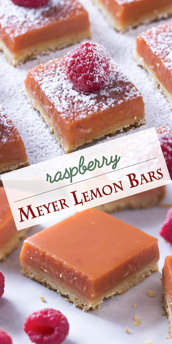 Homemade Meyer lemon raspberry bars are great twist on classic lemon bars! Start with a simple flaky and buttery shortbread crust and then top that with a thick and rich layer of lemon and raspberry curd. Tart, amazing, and a beautiful reddish-orange color. | justalittlebitofbacon.com #dessertrecipes #barcookies #lemonbars #raspberrybars #lemonsquares