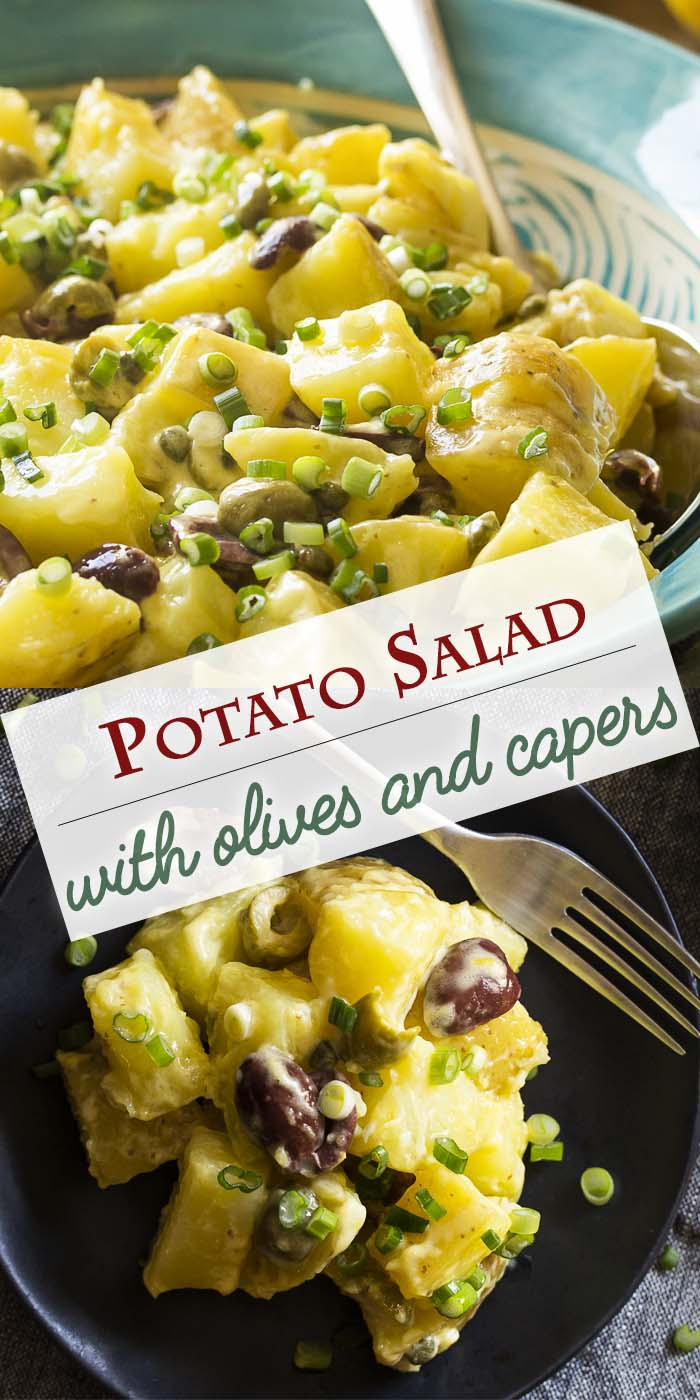 Looking for the best potato salad? Then you need to try my potato salad with olives and capers all tossed together with a homemade mayonnaise. Lemony, creamy, buttery, and tangy! | justalittlebitofbacon.com #sidedish #potatoes #potatosalad #salads #partyfood