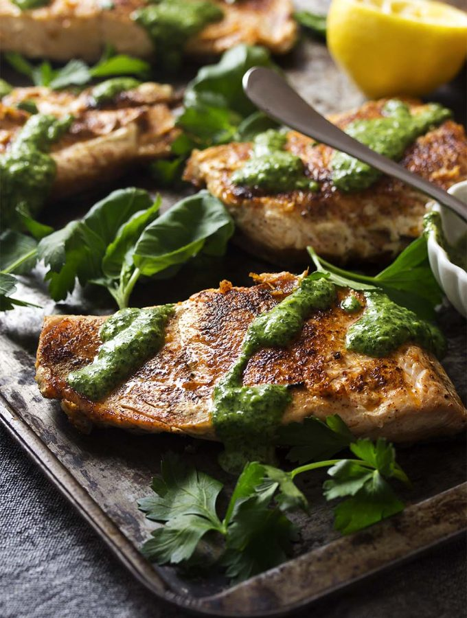 Crispy Seared Salmon with Green Sauce