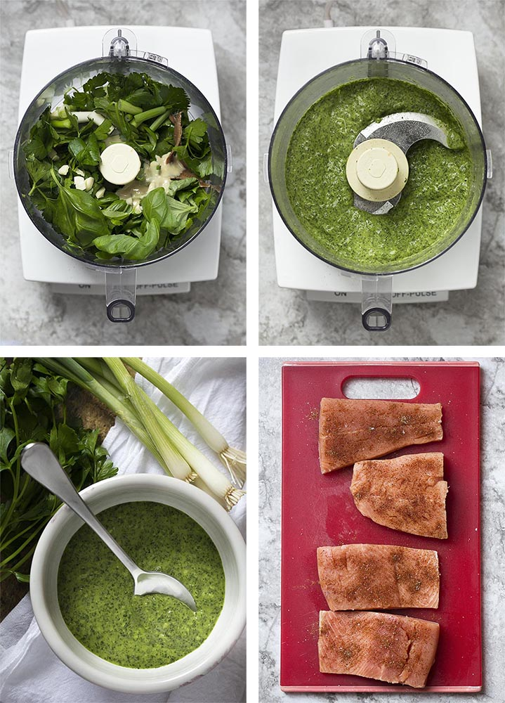 Step by step pictures showing how to make salmon with green sauce.