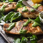 A simple pan searing in a cast iron pan gives my salmon with green sauce golden brown crispy skin worthy of a restaurant dinner! Add in an easy and vibrant sauce full of basil and parsley and you have a delicious and healthy weeknight meal.