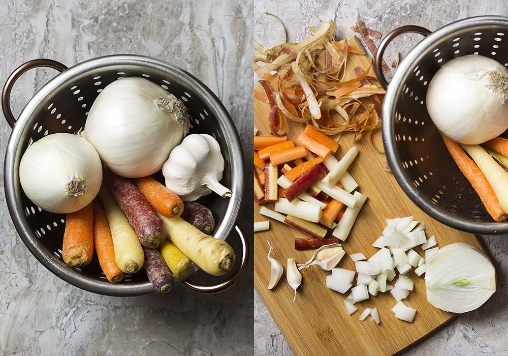 Two pictures. On left a colander full of carrots, white onions, and garlic. On right peeled, chopped carrots and onions on a cutting board.