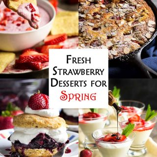 Want some ideas for fresh strawberry desserts? I have six amazing recipes from simple to elegant and all are packed full of sweet, juicy strawberries. Berry crumble pie, rustic strawberry tart, shortcake with a twist, easy strawberry dip and more!