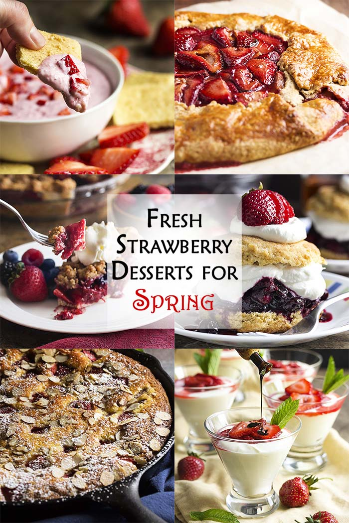 Want some ideas for fresh strawberry desserts? I have six amazing recipes from simple to elegant and all are packed full of sweet, juicy strawberries. Berry crumble pie, rustic strawberry tart, shortcake with a twist, easy strawberry dip and more! | justalittlebitofbacon.com #strawberries #strawberryshortcake #strawberrydesserts #dessertrecipes