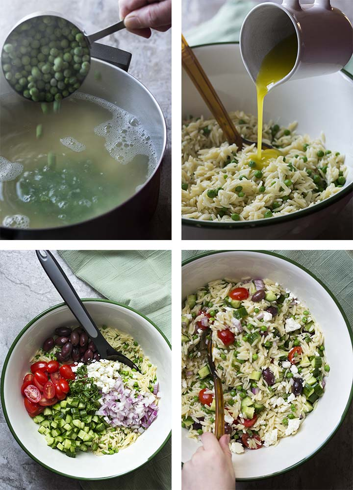 Step by step pictures of making Greek orzo salad.
