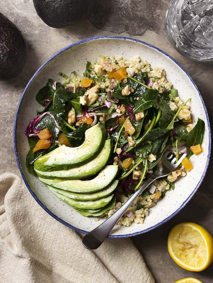 Kale, Radicchio and Freekeh Salad Buddha Bowl