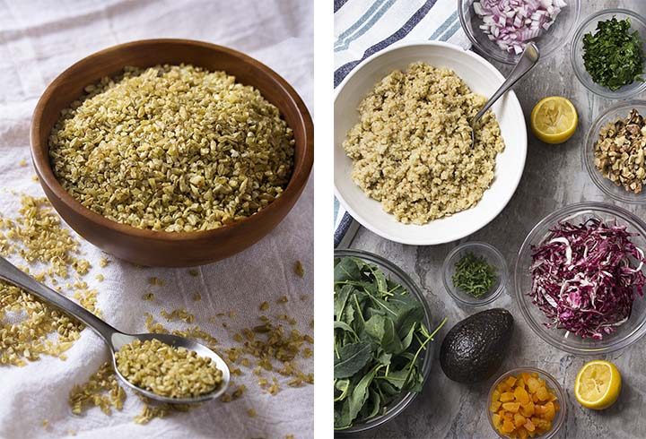 Photo collage showing the ingredients for making a kale freekeh salad.