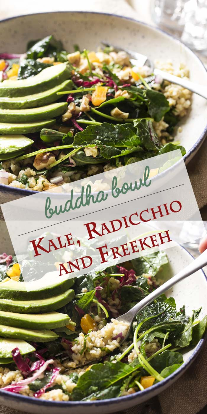 Freekeh is an earthy grain with a complex flavor which you should try! And this vegan freekeh salad buddha bowl with baby kale, radicchio, avocado, and mint is great way to add some freekeh to your diet.   justalittlebitofbacon.com #buddhabowl #saladrecipes #salad #grainbowl #veganrecipes #kalesalad