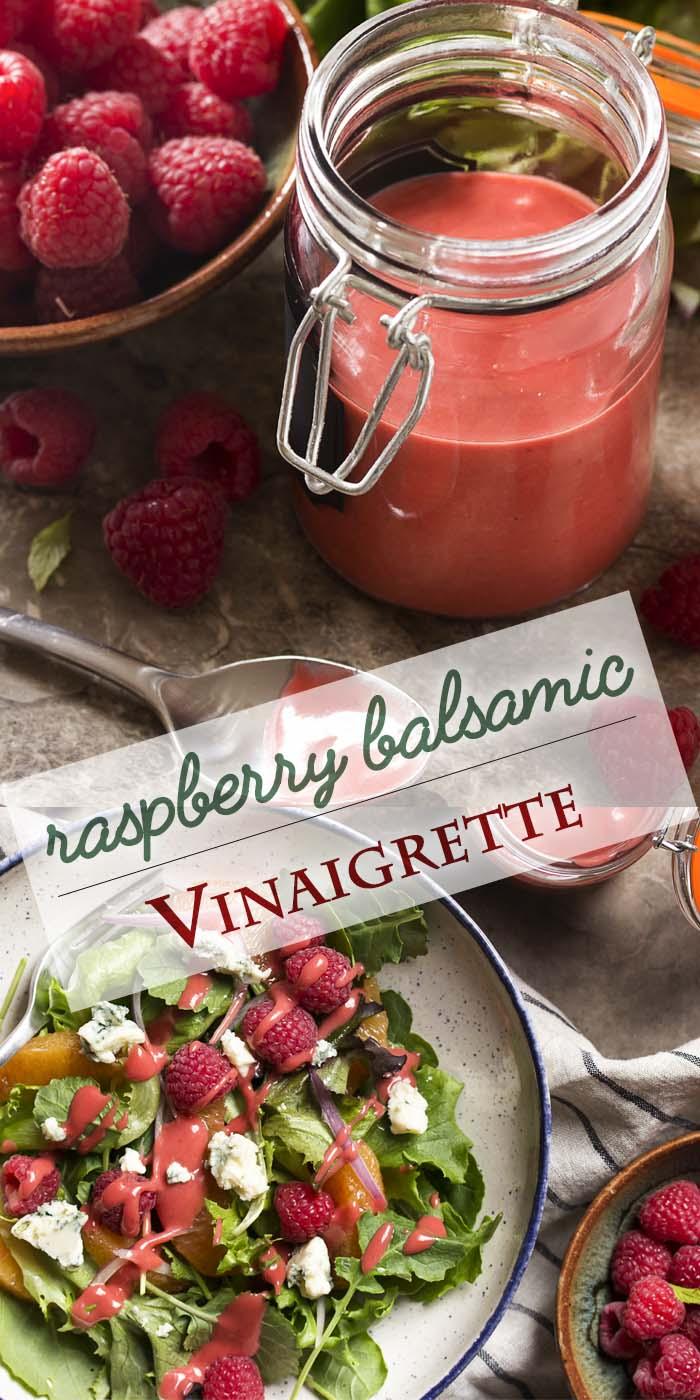 Put down the bottled salad dressing and jazz up your salads with a fresh raspberry balsamic vinaigrette! It's simple to make. Just a few minutes and a blender and you'll have a thick, sweet and spicy dressing for salads, chicken, salmon, and more. | justalittlebitofbacon.com #salads #saladdressing #vinaigrette #saladrecipes #raspberries #raspberryvinaigrette