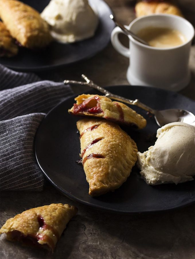 Make the most of fresh spring fruit with homemade rhubarb and strawberry hand pies! These mini, individual pastries are fun to make and to eat. Can be prepared ahead and frozen or made and served immediately. Great with vanilla ice cream!